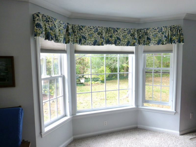 Bay Window Flat Center Valances With Gathered Centers