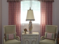 Flat Center Shaped Valance with gathered ends, decorative tassel fringe and matching Drapery Panels