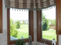 Board mounted Roman Valance with decorative tassel fringe