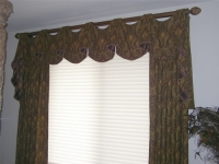 Open Swag Valance with Cascades and Stationary Drapery Panels