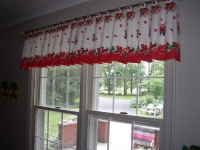Tab Top Valance mounted on decorative hardware