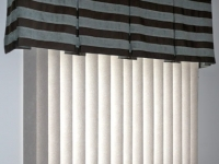 Box Pleat Valance over Vertical Blinds