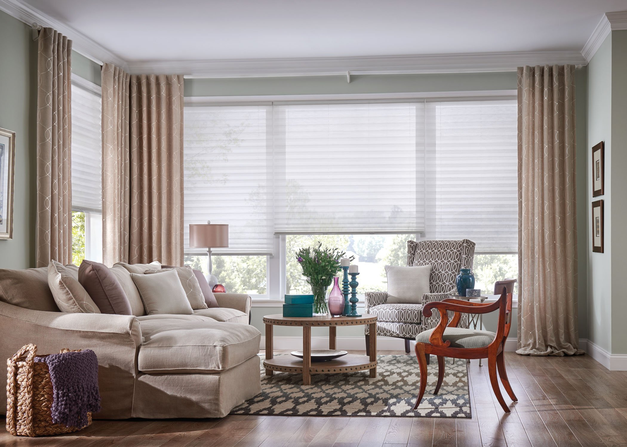 Graber_Drapery_LivingRoom1 - Custom Drapery and Blinds - Michigan